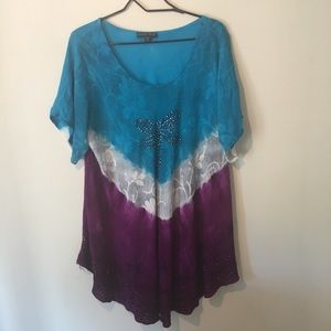 Greater good top free size plus flared bottom